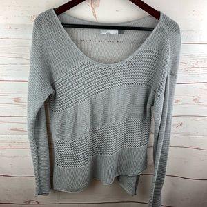 Prana   Gray Open Knit Lightweight Sweater